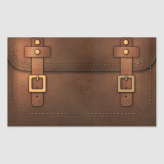 satchel Pony Express leather Rectangular Sticker