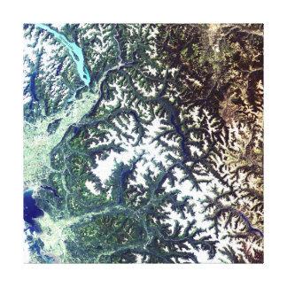 Satellite Image North Cascades National Park Canvas Print