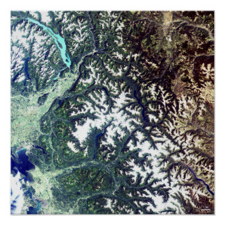 Satellite Image North Cascades National Park Poster