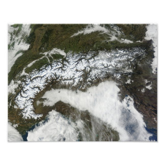 Satellite image of The Alps mountain range Photo Print