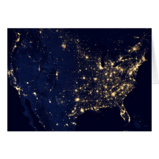Satellite Image of U.S. at night Card
