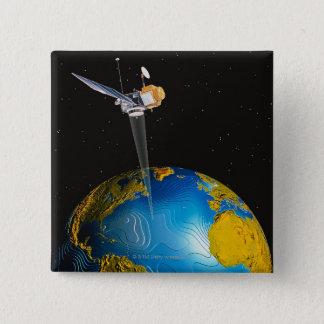 Satellite Orbiting Earth 6 15 Cm Square Badge