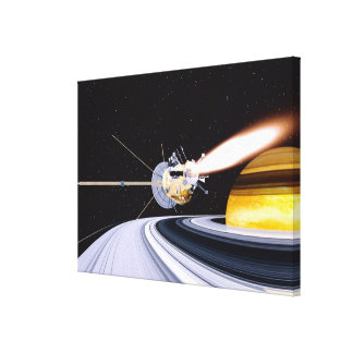 Satellite orbiting Saturn Gallery Wrapped Canvas