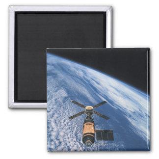 Satellite Orbiting Space Square Magnet