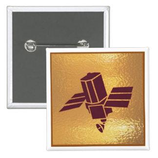 Satellite Robotic Antenna  - Medal Icon Gold Base 15 Cm Square Badge