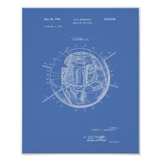 Satellite Structure 1958 Patent Art Blueprint Poster