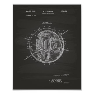 Satellite Structure 1958 Patent Art Chalkboard Poster