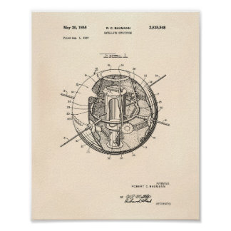 Satellite Structure 1958 Patent Art Old Peper Poster