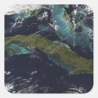 Satellite view of Cuba Square Sticker