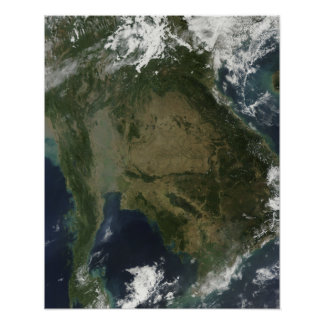 Satellite view of Indochina Poster