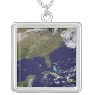 Satellite view of the United States East Coast Silver Plated Necklace