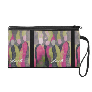 Satin art wrist purse