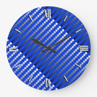 Satin dots - cobalt blue and pewter wallclocks