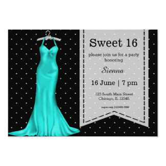 Satin gown sweet 16 13 cm x 18 cm invitation card