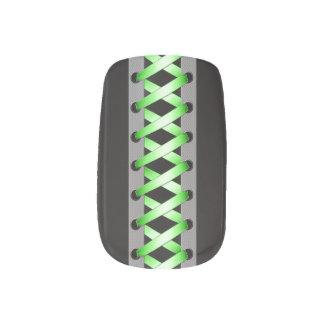 Satin Green Laces Minx Nail Art
