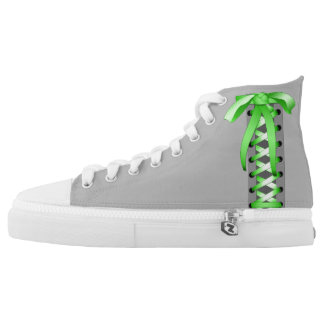 Satin Green Laces Printed Shoes