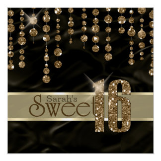 Satin Jewel Sweet Sixteen Black Gold ID260 Poster