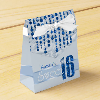 Satin Jewel Sweet Sixteen Blue ID260 Wedding Favour Boxes