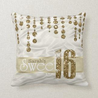 Satin Jewel Sweet Sixteen Gold ID260 Throw Pillow
