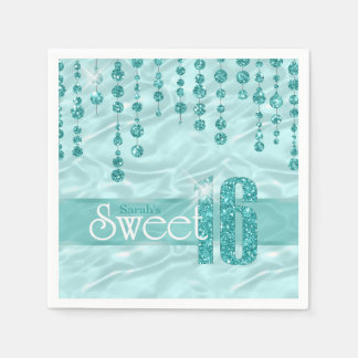Satin Jewel Sweet Sixteen Teal ID260 Paper Napkins
