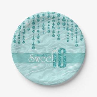 Satin Jewel Sweet Sixteen Teal ID260 Paper Plate