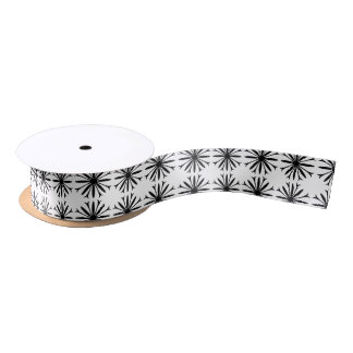 Satin Ribbon BLACK & WHITE FLOWER LOGO
