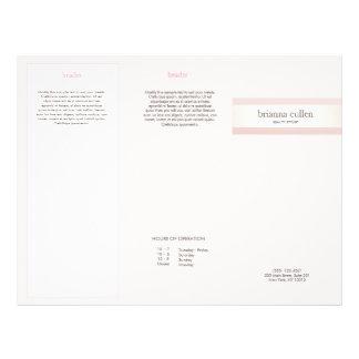 Satin Striped Blush Pink Beauty Salon Spa Brochure 21.5 Cm X 28 Cm Flyer