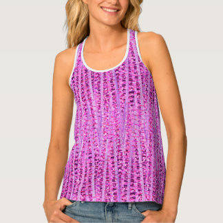 Satin Stripes and Dots Abstract, Amethyst Purple Singlet