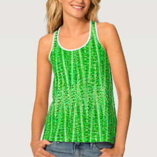 Satin Stripes and Dots Abstract, Lime Green Singlet