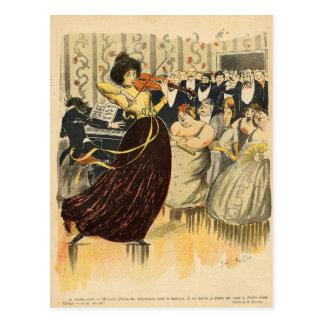 Satire of a salon musical evening postcard