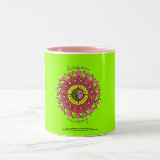 Satisfaction - Pink two tone coffee mug(lt green) Two-Tone Mug