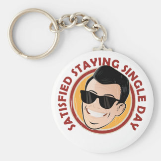 Satisfied Staying Single Day - Appreciation Day Basic Round Button Key Ring