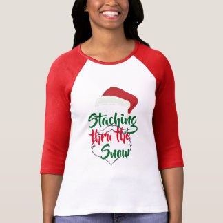 satna staching thru the snow funny christmas xmas T-Shirt