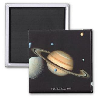 Saturn and satellites refrigerator magnet