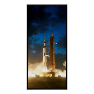 Saturn IV Rocket Launch Poster