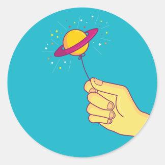 Saturn Lollipop Balloon Classic Round Sticker