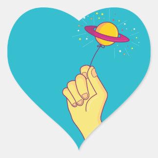 Saturn Lollipop Balloon Heart Sticker
