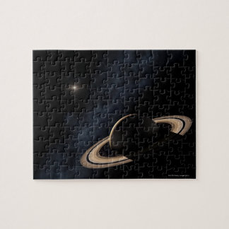 Saturn planet in solar system, close-up jigsaw puzzle