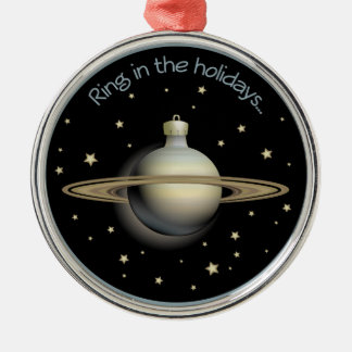 Saturn - Ring in the holidays Metal Ornament