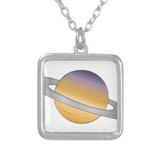 Saturn Silver Plated Necklace