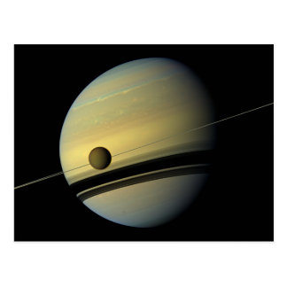 Saturn & Titan Cassini Space Photo Postcard