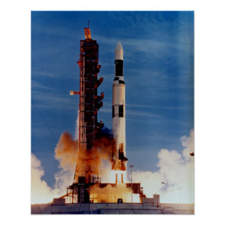 Saturn V Launching The Skylab Space Station Poster