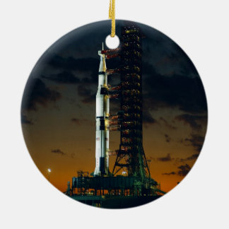 Saturn V rocket Round Ceramic Decoration