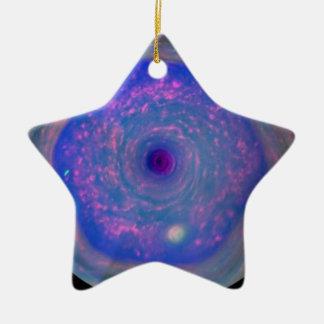 Saturn's Hexagonal Storm Ceramic Star Decoration