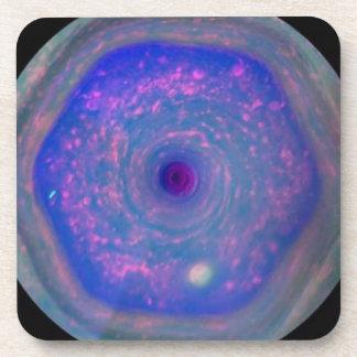 Saturn's Hexagonal Storm Drink Coasters