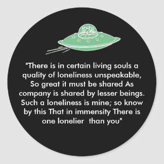saucer of lonliness classic round sticker