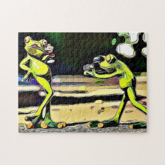 Saucy Frogs Jigsaw Jigsaw Puzzle