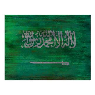 Saudi Arabia distressed Saudi Arabian flag Postcard