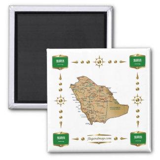 Saudi Arabia Map + Flags Magnet