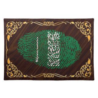 Saudi touch fingerprint flag placemat